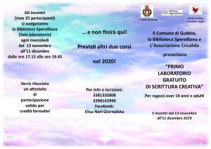 1° LABORATORIO GRATUITO DI SCRITTURA CREATIVA
