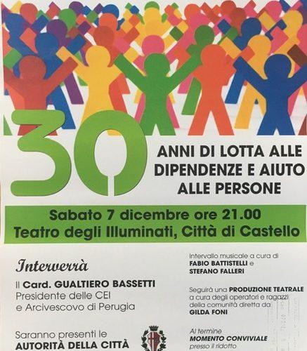 IL C.E.I.S. DI CITTA' DI CASTELLO CELEBRA 30 ANNI DI LOTTA ALLE DIPENDENZE