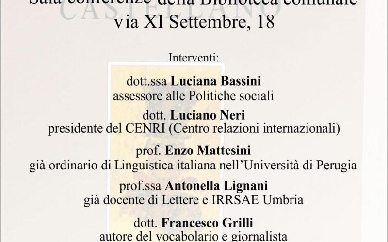 """PRESENTAZIONE """"VOCABOLARIO DEL DIALETTO CASTELLANO"""" DI FRANCESCO GRILLI"""