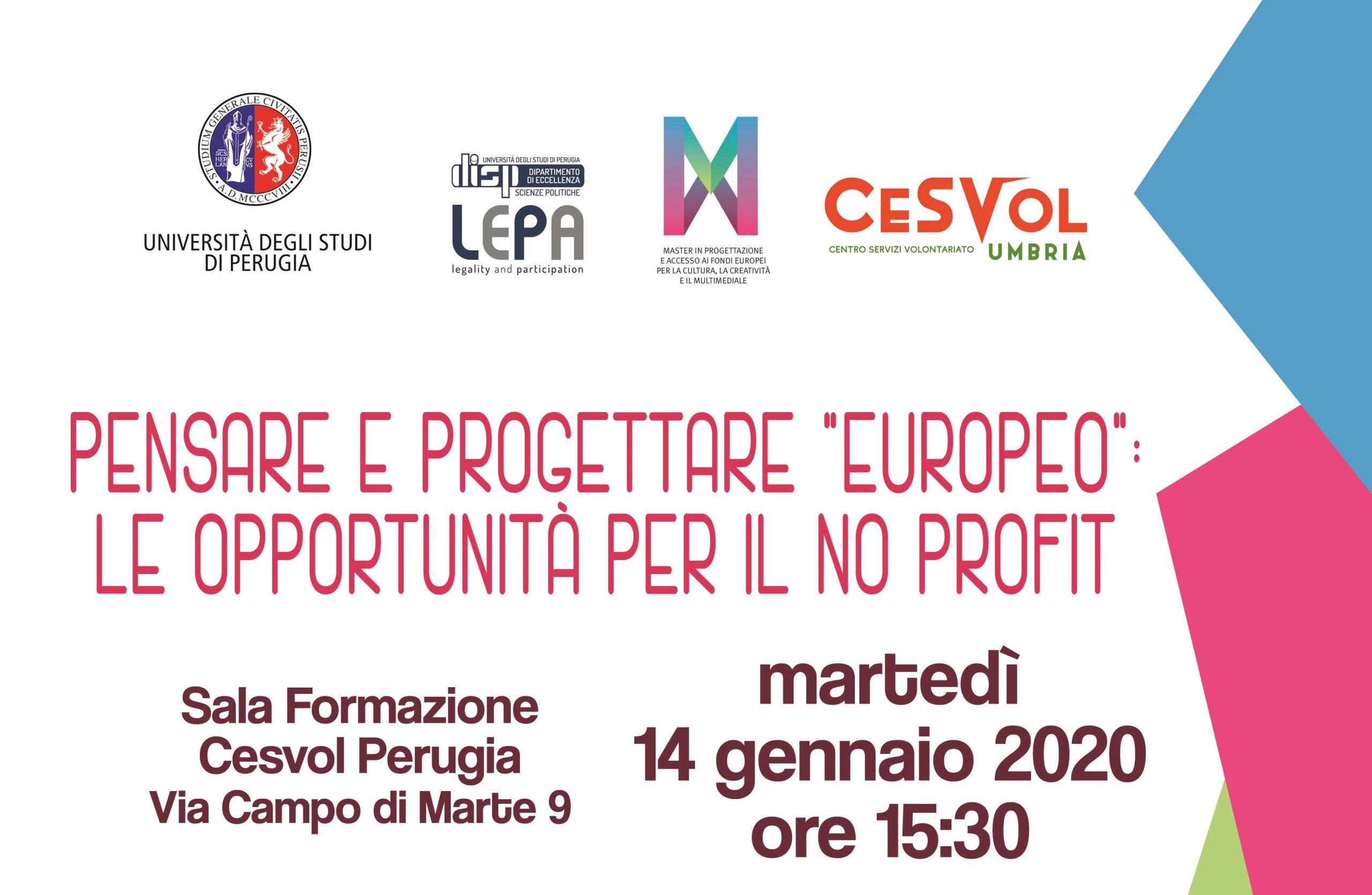 """Pensare e progettare """"europeo"""", le opportunità per il No Profit"""