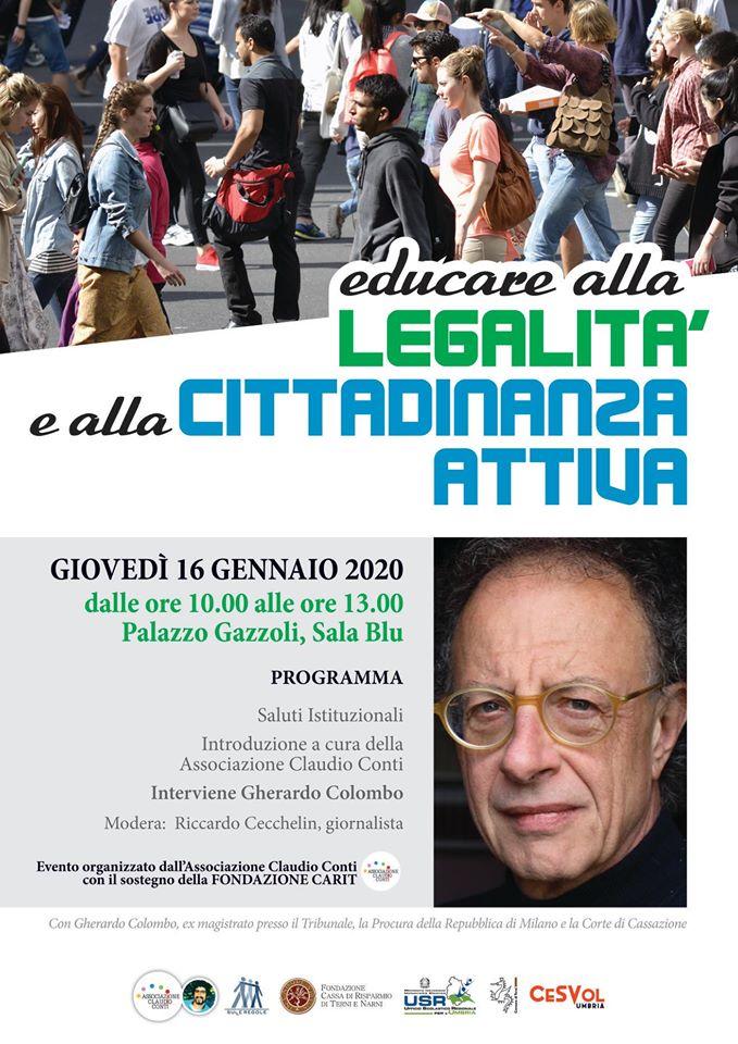 Il magistrato Gherardo Colombo a Terni per parlare di legalità a 350 studenti