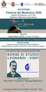 """ANTEPRIMA """"FESTIVAL DEL MEDIOEVO 2020"""" E CONSEGNA BORSE DI STUDIO """"LEONARDI-VISPI"""""""