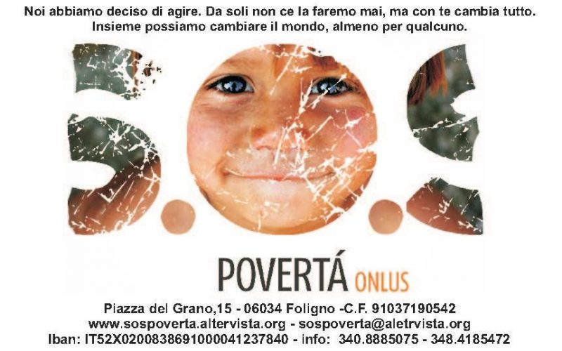 S.O.S. Povertà, AL VIA LE TRE NUOVE RACCOLTE FONDI DELL'ASSOCIAZIONE