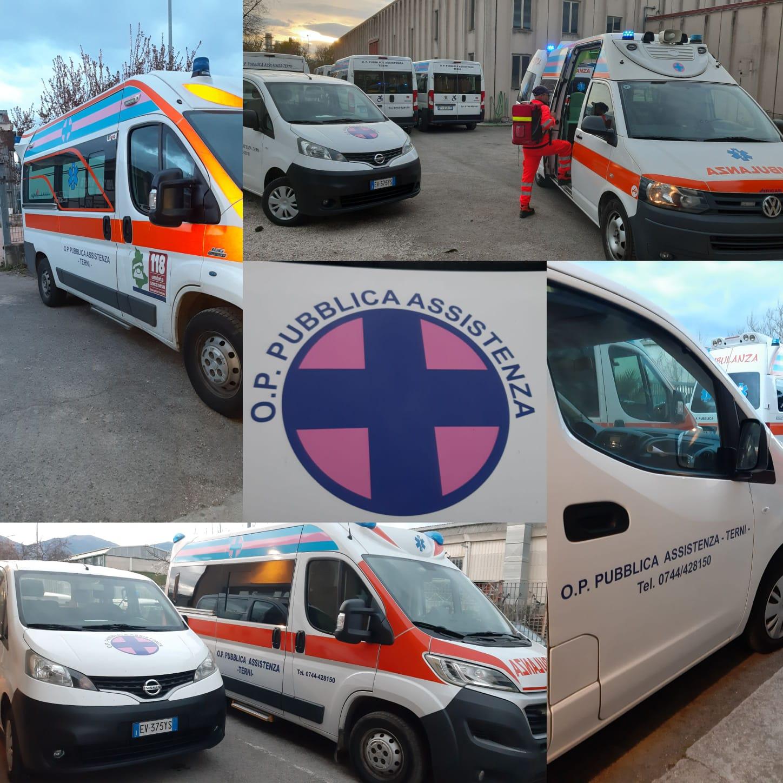 L' Associazione Opera Pia Pubblica Assistenza ODV di Terni in prima linea nella battaglia contro il coronavirus