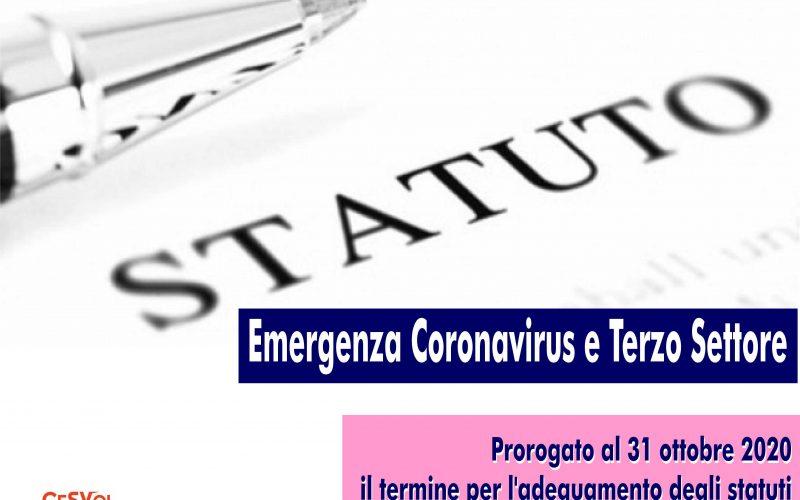 Emergenza Coronavirus e Terzo Settore: prorogato al 31 ottobre 2020 il termine per l'adeguamento degli statuti