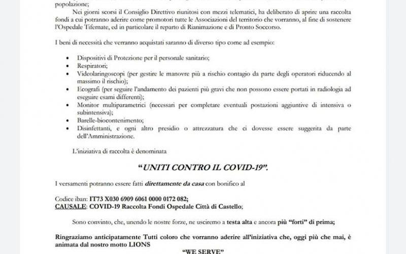 """""""UNITI CONTRO IL COVID-19"""" – RACCOLTA FONDI DEL LIONS CLUB CITTÀ DI CASTELLO HOST"""