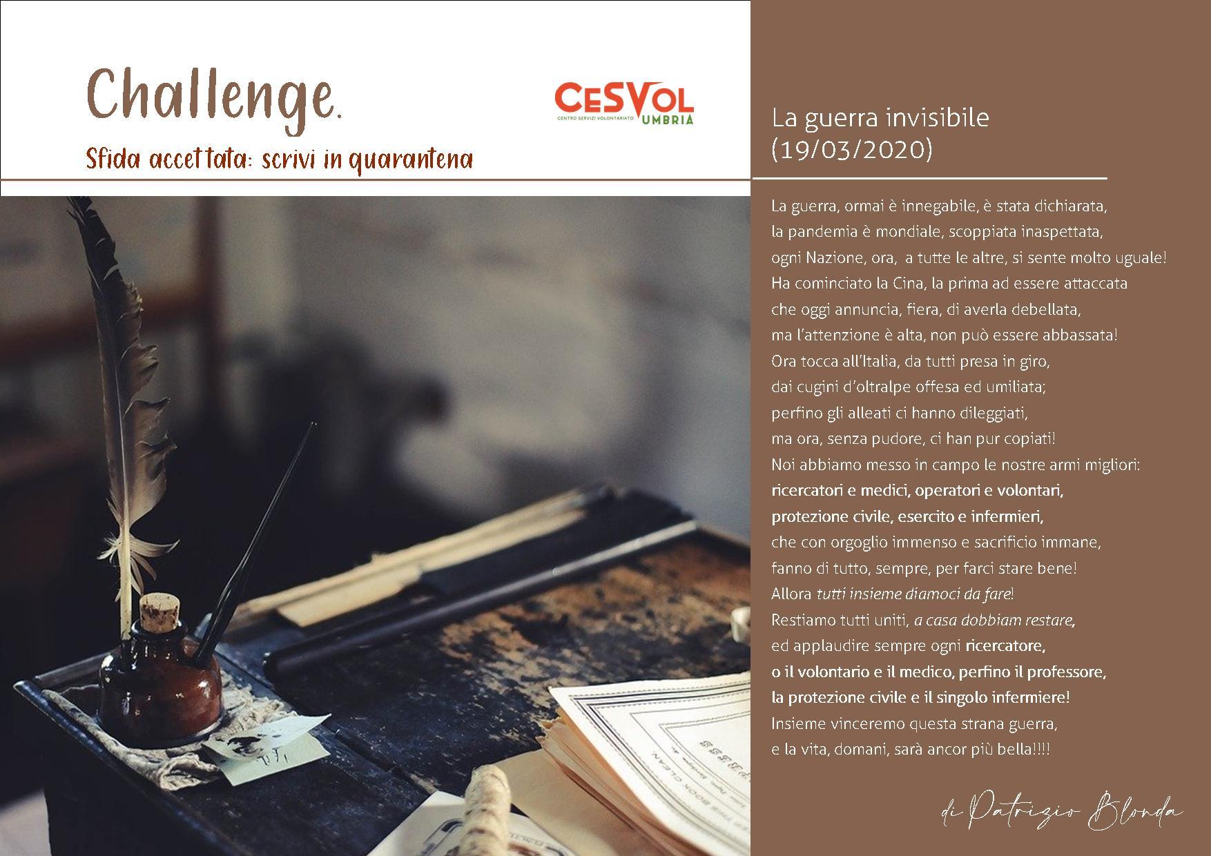 """""""Challenge sfida accettata: Scrivi in quarantena"""". I racconti ai tempi del coronavirus"""