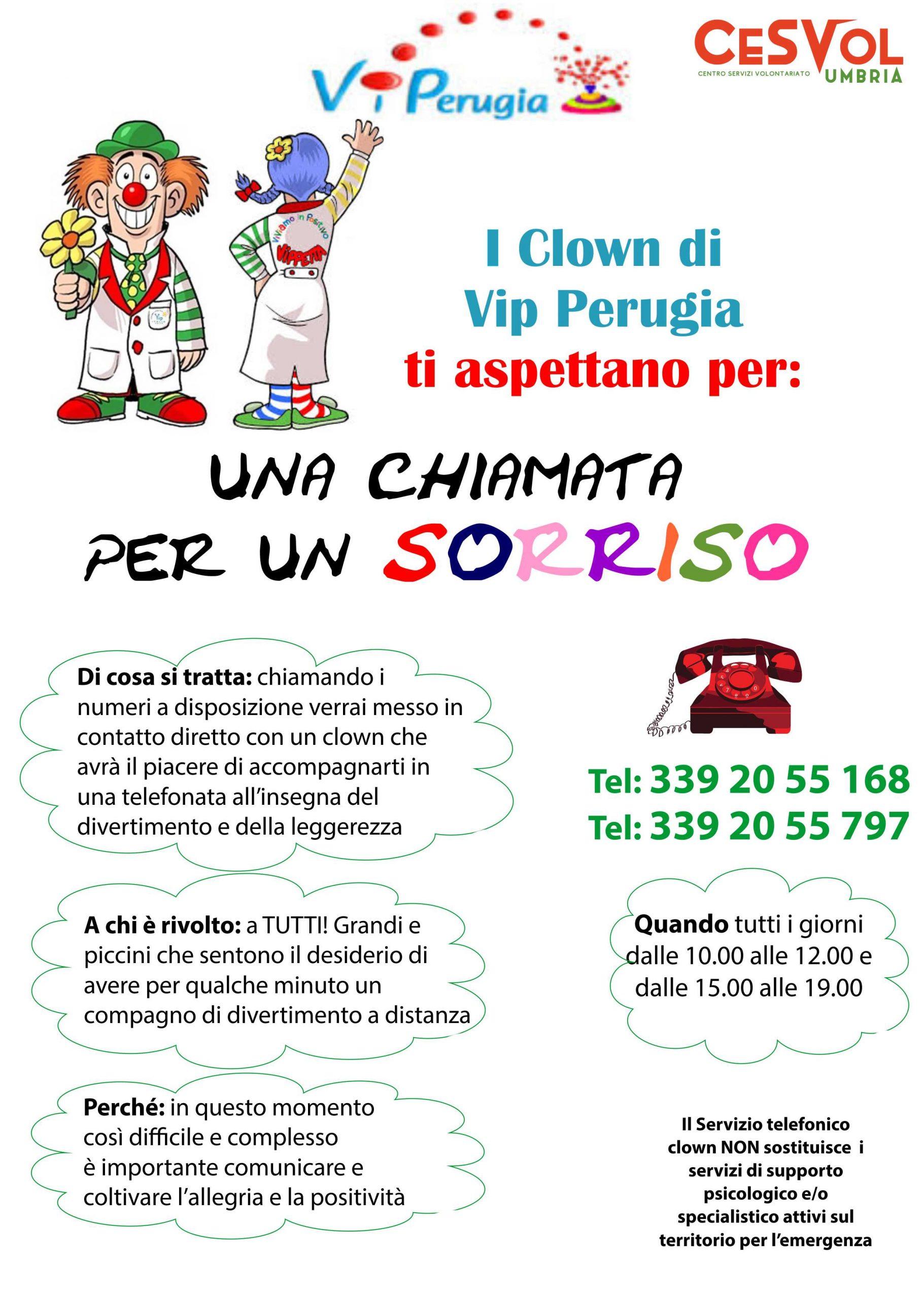 Una chiamata per un sorriso: i clown di Vip Perugia alla cornetta