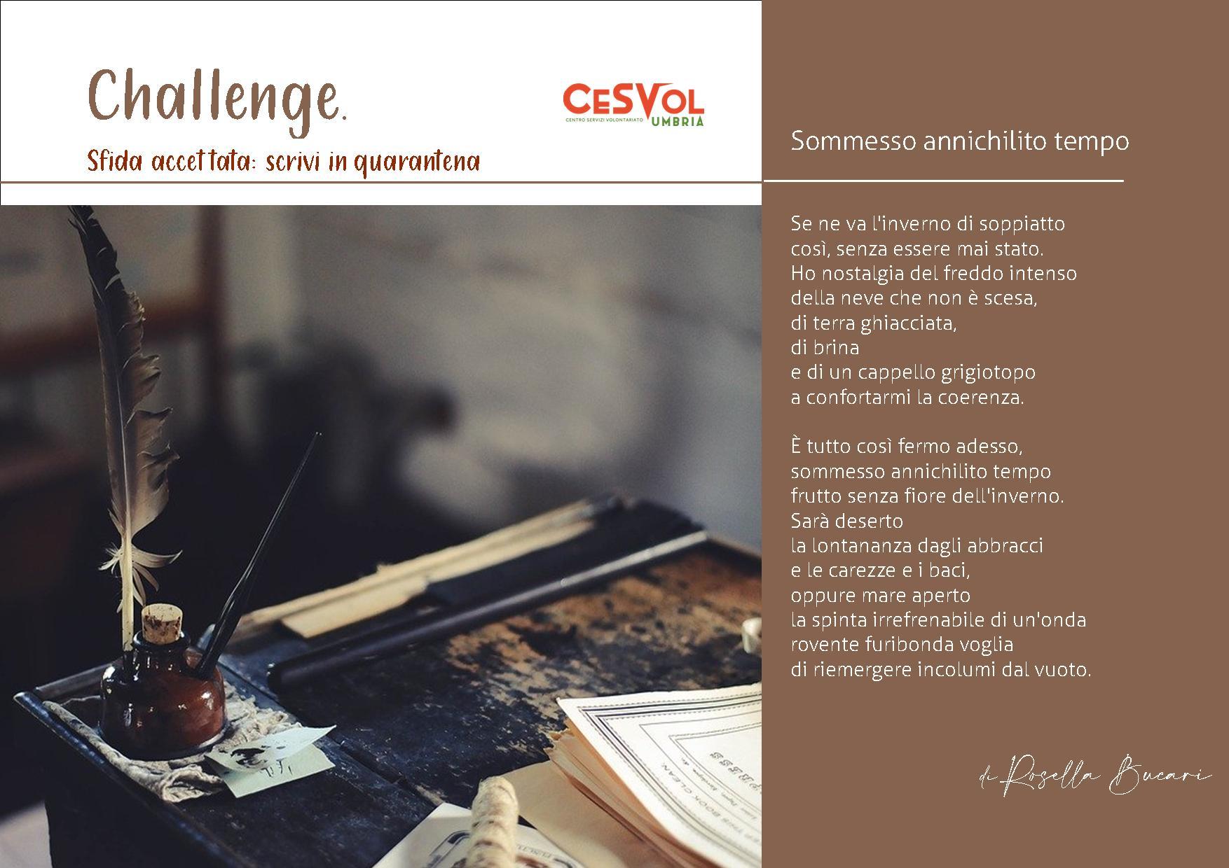 Challenge Sfida accettata: Scrivi in quarantena
