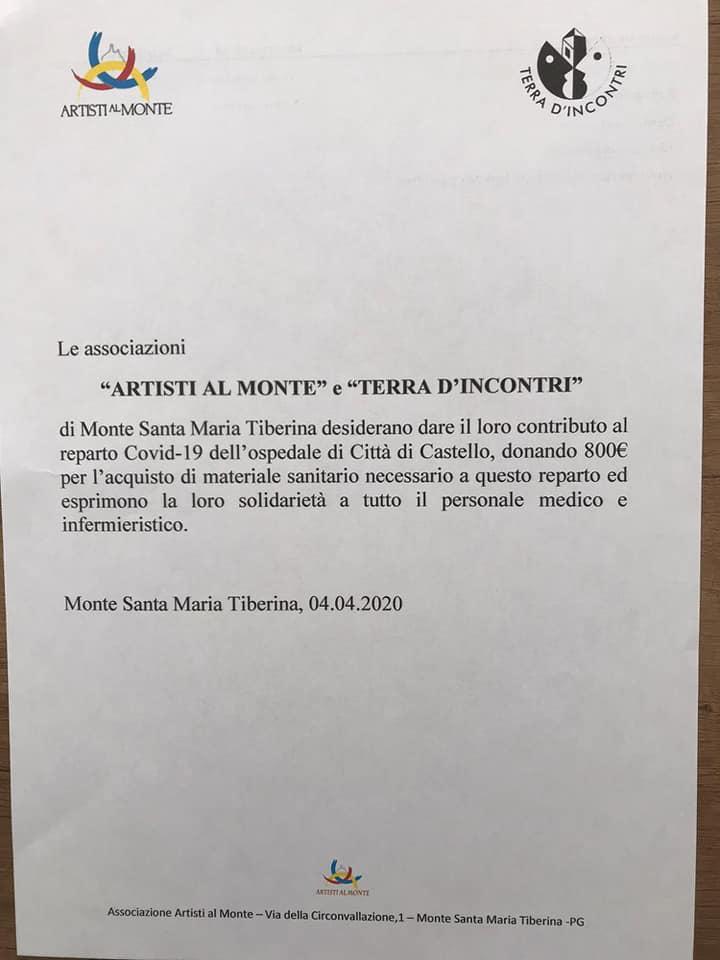 """DALLE ASSOCIAZIONI """"ARTISTI AL MONTE"""" E TERRA D'INCONTRI"""" UN CONTRIBUTO AL REPARTO COVID-19 DELL'OSPEDALE TIFERNATE"""