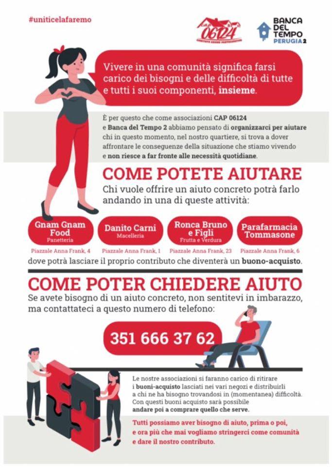 Banca del Tempo Perugia e CAP 06124 a disposizione di chi è in difficoltà