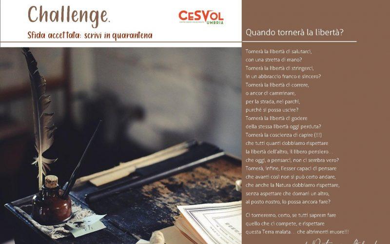 """Bando """"Challenge, sfida accettata: Scrivi in quarantena"""""""