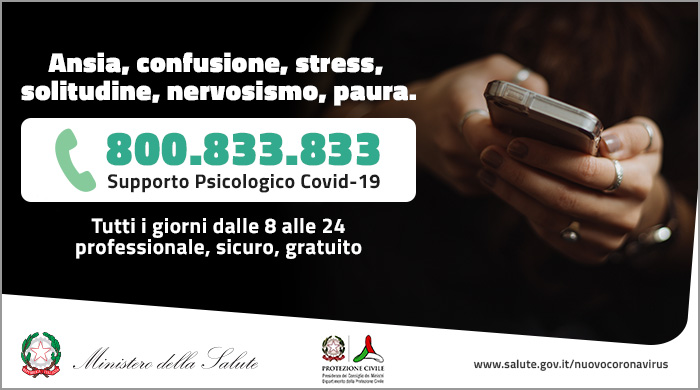 EMERGENZA CORONAVIRUS – NUMERO VERDE DI SUPPORTO PSICOLOGICO