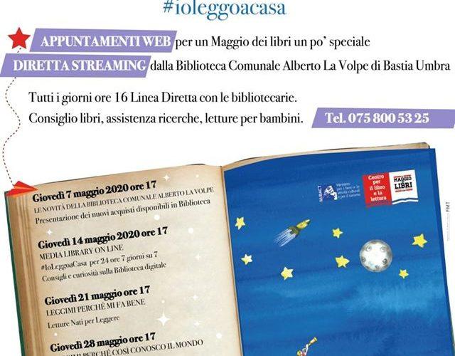 """AL VIA IL """"MAGGIO DEI LIBRI"""" 2020 A BASTIA UMBRA: DIRETTE STREAMING, CONCORSI LETTERARI, FAVOLE AL TELEFONO"""