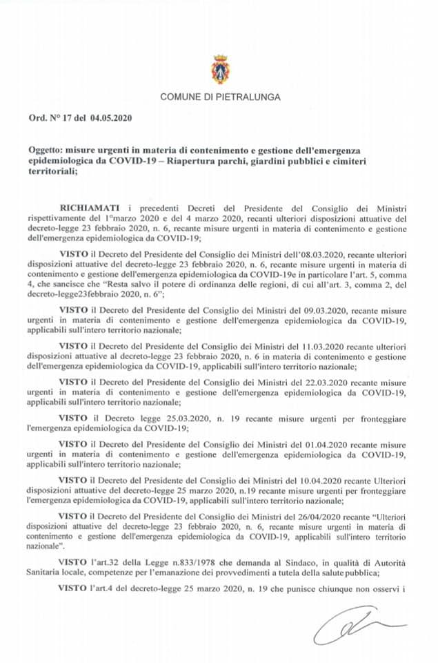 PIETRALUNGA – EMERGENZA CORONAVIRUS FASE 2 – ORDINANZA SINDACALE