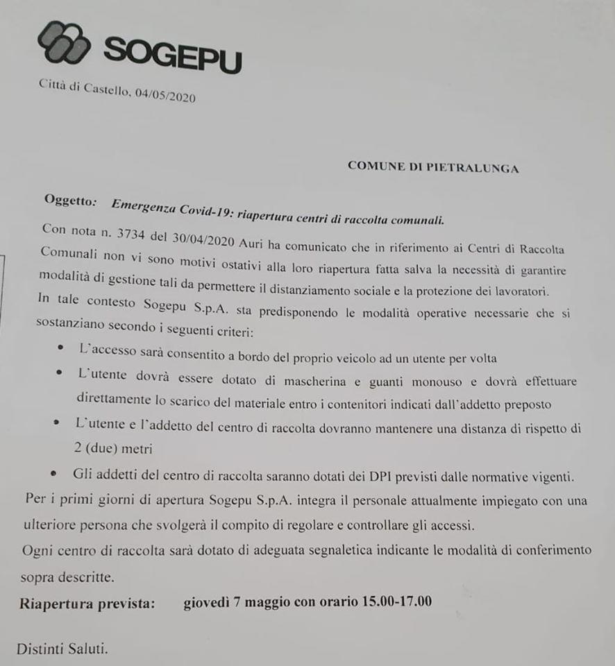 PIETRALUNGA – RIAPERTURA CENTRO DI RACCOLTA COMUNALE