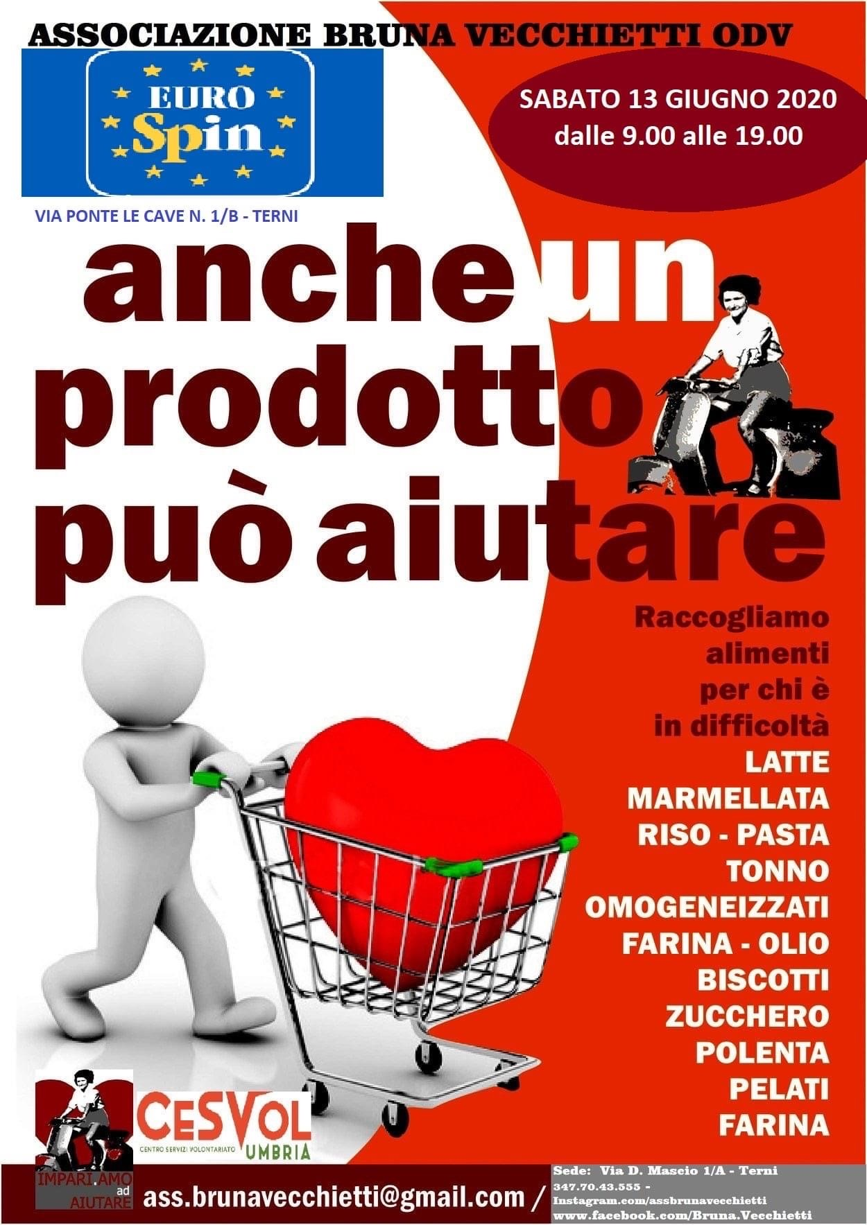 L'associazione Bruna Vecchietti organizza la raccolta alimentare per le famiglie in difficoltà