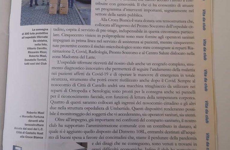 RIFLETTORI SUL LIONS CLUB CITTÀ DI CASTELLO SULLA RIVISTA LIONISMO