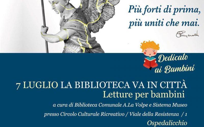 """""""LA BIBLIOTECA VA IN CITTÀ"""", STASERA APPUNTAMENTO AD OSPEDALICCHIO"""