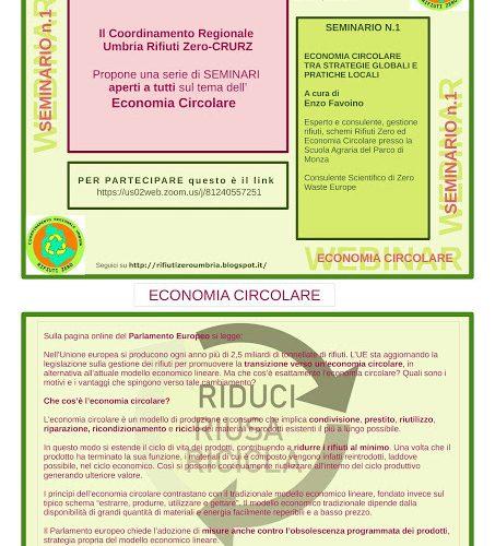 """SEMINARIO """"ECONOMIA CIRCOLARE TRA STRATEGIA GLOBALI E PRATICHE LOCALI"""""""