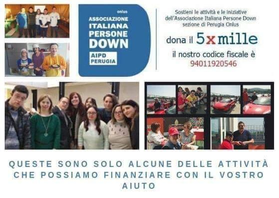 5 PER MILLE ALL'ASSOCIAZIONE ITALIANA PERSONE DOWN AIPD PERUGIA. SUPPORTO A FAMIGLIE E PERSONE DISABILI