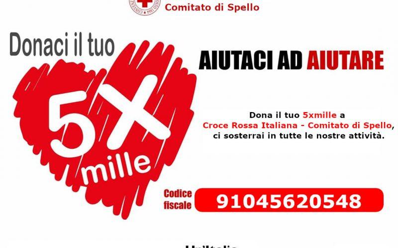 DONAZIONE PACCHI DI VIVERI, CONSEGNA MASCHERINE, TRASPORTO MALATI: 5 PER MILLE ALLA CROCE ROSSA ITALIANA COMITATO DI SPELLO ODV