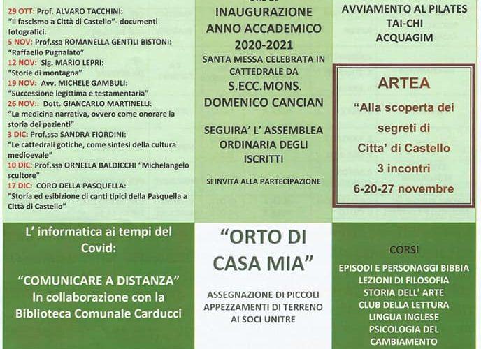UNITRE DI CITTÀ DI CASTELLO – ISCRIZIONI ALL'ANNO ACCADEMICO 2020-2021 – TANTI I CORSI PREVISTI