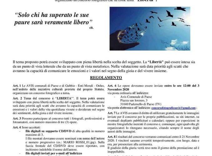 """AVIS – CONCORSO FOTOGRAFICO 2020 SUL TEMA """"LIBERTÀ"""""""