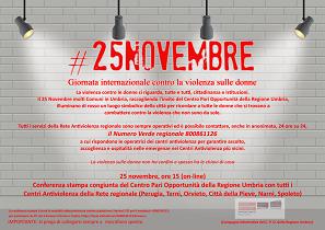 CENTRO PARI OPPORTUNITÀ: IL 25 NOVEMBRE CONFERENZA STAMPA CON CENTRI REGIONALI ANTIVIOLENZA