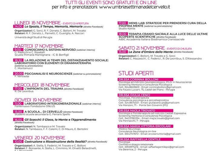"""Al via in Umbria la Settimana del Cervello, 5° edizione, totalmente online causa coronavirus. L'evento è collegato a """"'Brain Awareness Week', iniziativa a livello mondiale."""