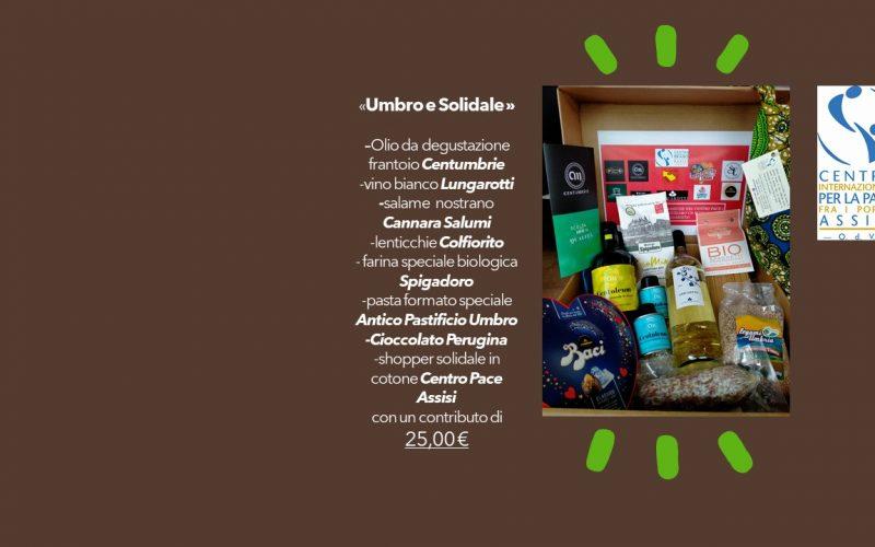 """Cesto natalizio """"Umbro e Solidale"""", progetto di solidarietà del Centro Internazionale per la Pace fra i Popoli, onlus che realizza molteplici progetti benefici"""