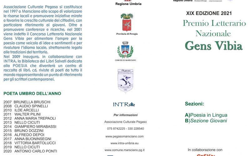 """Poesie, concorso nazionale dell'Associazione Culturale """"Pegaso"""" . Confermato il Premio letterario Gens Vibia, edizione 2021, nonostante la pandemia Covid."""