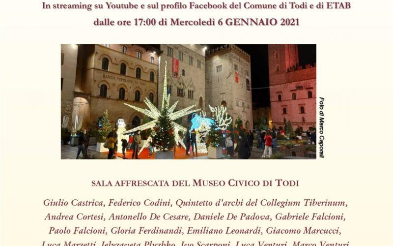 """""""Concerto dell'Epifania e della Solidarietà"""", rinascita musicale e culturale, più forti del Covid. Iniziativa La Consolazione ETAB e Comune di Todi, sala affrescata Museo"""
