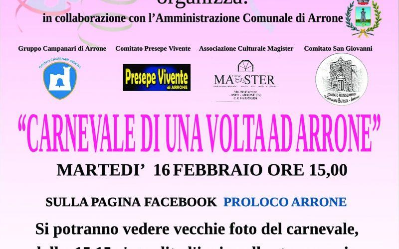 """""""Carnevale di una volta ad Arrone"""": Le associazioni festeggiano con un evento a distanza"""