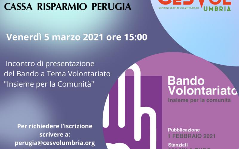 Insieme per la comunità, il bando della Fondazione Cassa Risparmio Perugia pensato per gli Enti del Terzo Settore