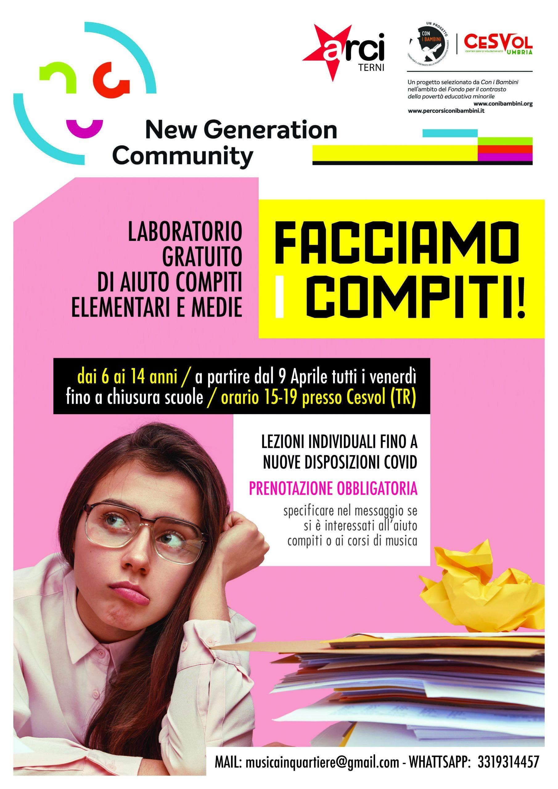 """""""Facciamo i compiti"""": Via al laboratorio gratuito di Arci Terni"""
