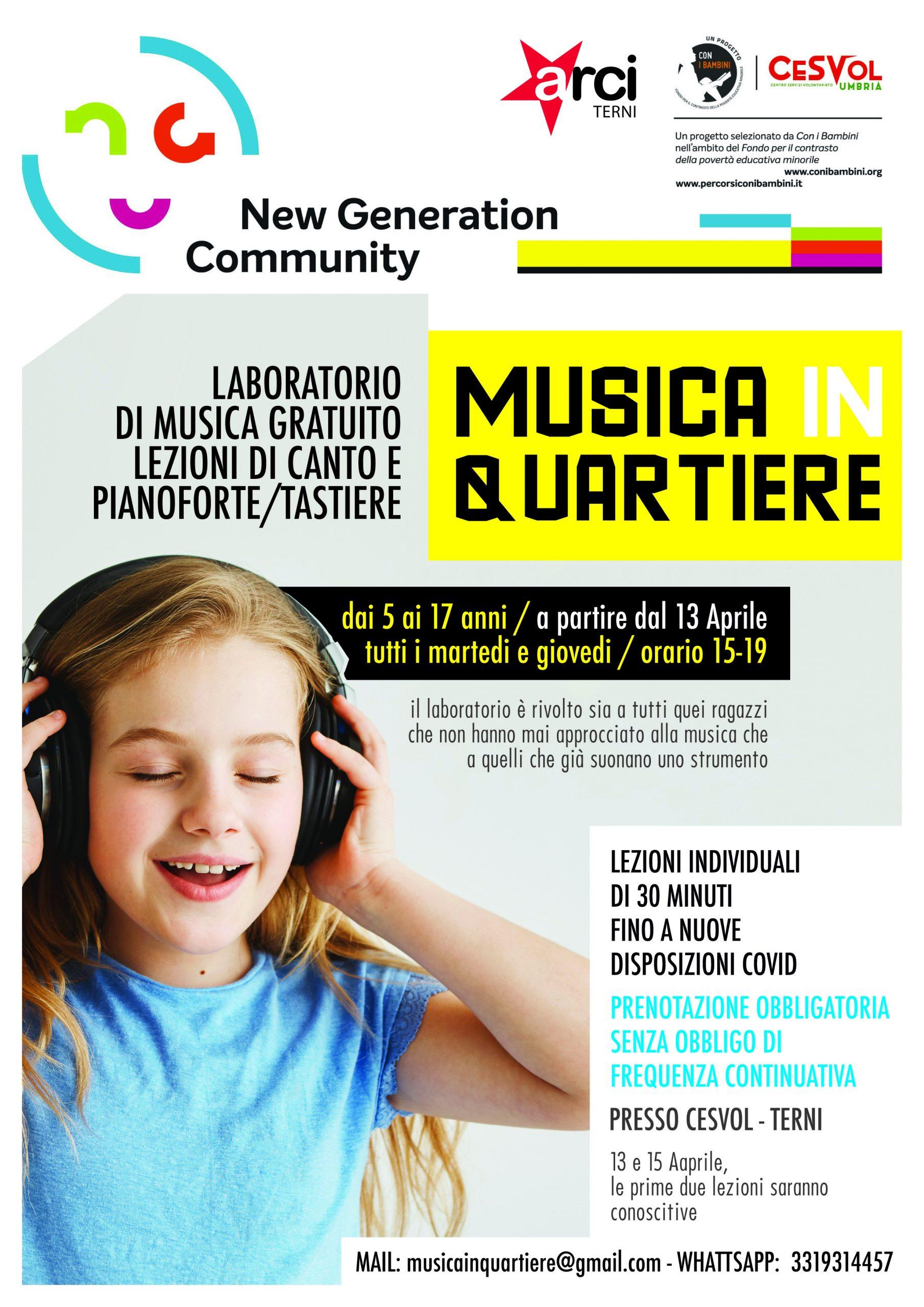 """""""Musica in quartiere"""": Al Cesvol lezioni gratuite di musica per bambini e ragazzi"""