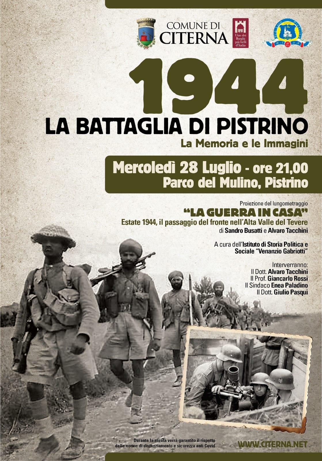 1944 – LA BATTAGLIA DI PISTRINO – LA MEMORIA E LE IMMAGINI
